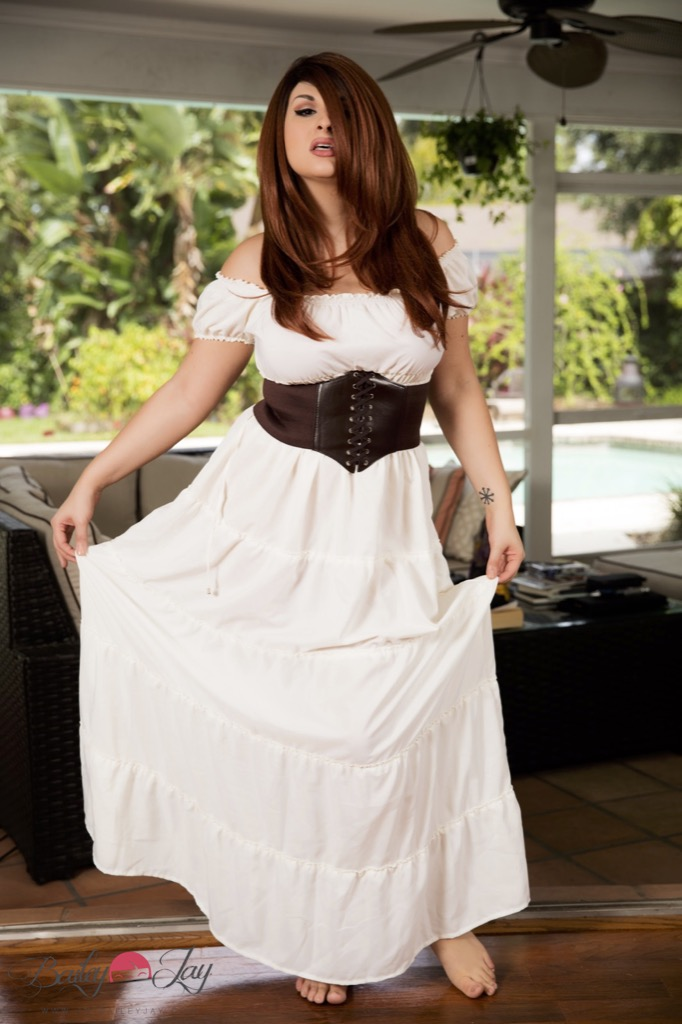 Bailey Jay In A Long White Dress With No Bra Or Panties On